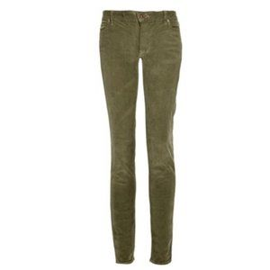 Vince Women's Green Mid-rise Corduroy skinny